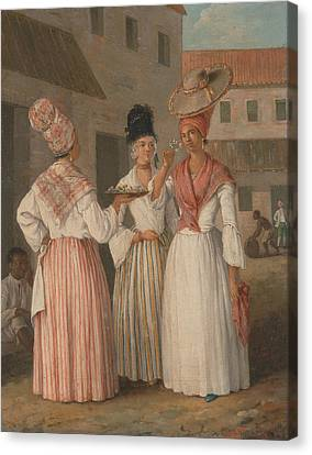 A West Indian Flower Girl And Two Other Free Women Of Color Canvas Print by Agostino Brunias