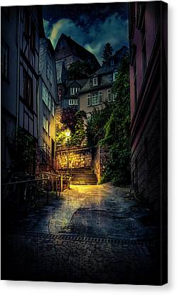 Canvas Print featuring the photograph A Wet Evening In Marburg by David Morefield