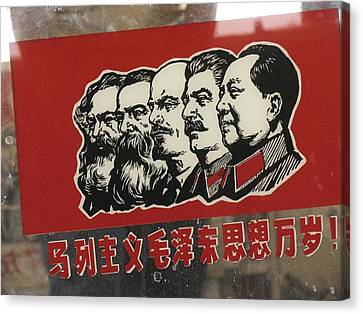 A Window Decal Of Communist Leaders Canvas Print by Richard Nowitz