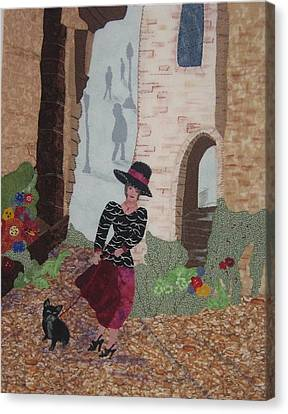 Dog Walking Canvas Print - A Windy Paris Day by Rhoda Forbes
