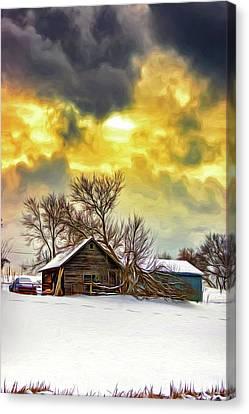 Barn Storm Canvas Print - A Winter Eve 2 - Paint by Steve Harrington