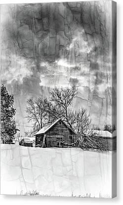 A Winter Eve - Overlay Bw Canvas Print