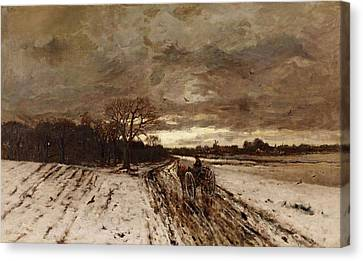 Horse And Cart Canvas Print - A Winter Landscape With A Horse And Cart At Dusk by MotionAge Designs