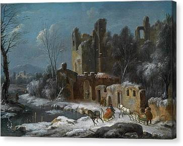 A Winter Landscape With Travellers Canvas Print by Thomas Wyck