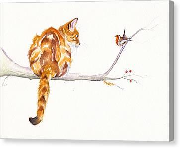 Cat Canvas Print - A Winter Meeting by Debra Hall