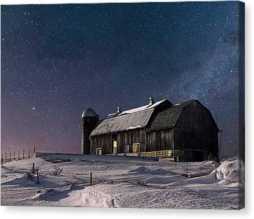 A Winter Night On The Farm Canvas Print
