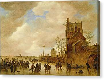 A Winter Skating Scene Canvas Print by Jan Josephsz van Goyen