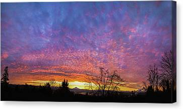 Canvas Print featuring the photograph A Winter Sunrise by Angie Vogel