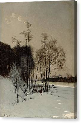 A Winter View In Posen Canvas Print by Hans Hampke