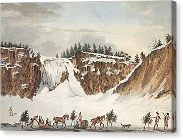 A Winter View Of The Falls Of Montmorenci Canvas Print by John Wells