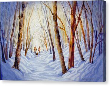 A-winter-walk Canvas Print by Nancy Newman
