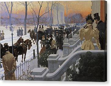 Horse And Buggy Canvas Print - A Winter Wedding Washington Square by Fernand Lungren