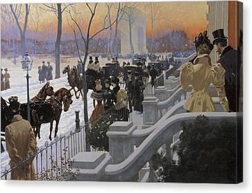 A Winter Wedding Washington Square Canvas Print by Fernand Lungren