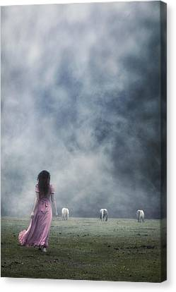 A Woman And Wild Ponies Canvas Print by Joana Kruse