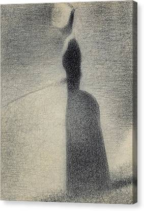 A Woman Fishing Canvas Print by Georges Pierre Seurat