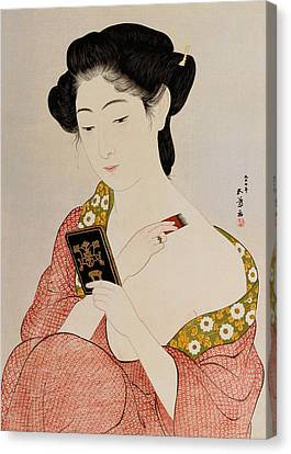A Woman In Underclothes Canvas Print by Goyo Hashiguchi