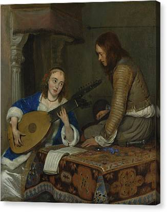 Woman Playing A Lute Canvas Print - A Woman Playing The Theorbo by Gerard ter Borch