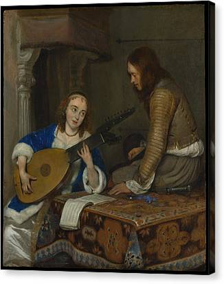Woman Playing A Lute Canvas Print - A Woman Playing The Theorbo-lute And A Cavalier by Gerard ter Borch the Younger