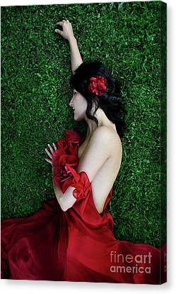 Hibiscus Canvas Print - A Woman Sleeping On The Grass In A Red Dress by Jelena Jovanovic