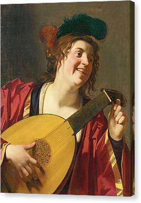 Woman Playing A Lute Canvas Print - A Woman Tuning A Lute by MotionAge Designs