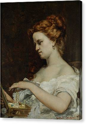 Decolletage Canvas Print - A Woman With Jewellery by Gustave Courbet