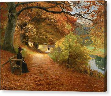 A Wooded Path In Autumn Canvas Print by Mountain Dreams