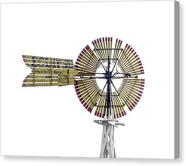A Wooden Slat Style Windmill Canvas Print by Gary Warnimont
