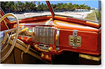 A Woodie At The Beach Canvas Print by Gary Adkins