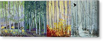 A Year In A Birch Forest Canvas Print