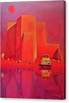 Canvas Print featuring the painting A Yellow Truck With A Red Moon In Ranchos by Art West