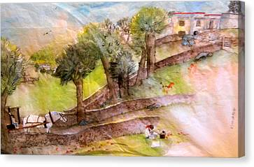 Canvas Print featuring the painting a young artist dreams of Italy by Debbi Saccomanno Chan
