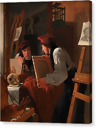 Artist At Easel Canvas Print - A Young Artist Examining A Sketch In A Mirror by Mountain Dreams