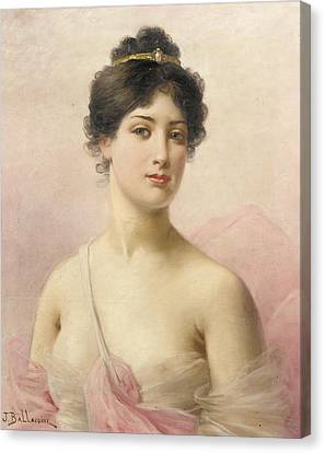 Bare Shoulder Canvas Print - A Young Beauty by Jules Frederic Ballavoine