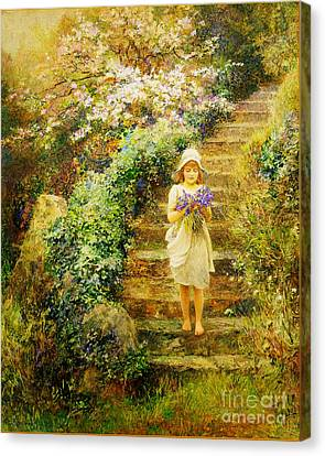 A Young Girl Carrying Violets Canvas Print by Celestial Images