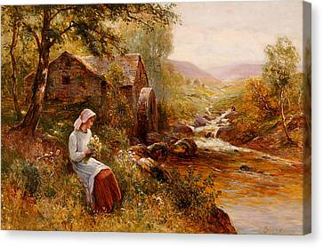 Youthful Canvas Print - A Young Girl Picking Spring Flowers by Ernest Walbourn