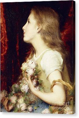 A Young Girl With A Basket Of Flowers Canvas Print