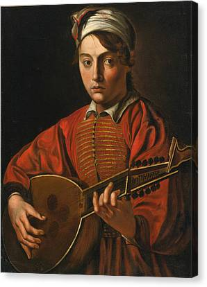 A Young Man Playing A Lute Canvas Print by Follower of the Master of the Lute Player
