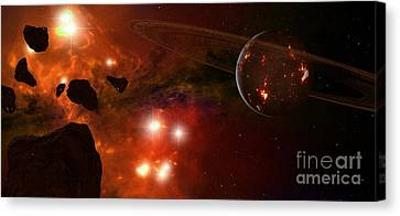 A Young Ringed Planet With Glowing Lava Canvas Print by Frieso Hoevelkamp