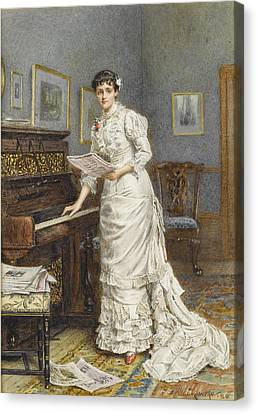 A Young Woman At A Piano Canvas Print by MotionAge Designs