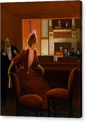 A Young Woman At The Opera Canvas Print by Jean Beraud