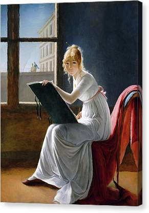 A Young Woman Drawing  Canvas Print