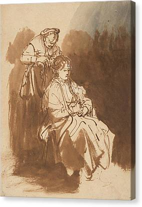 A Young Woman Having Her Hair Braided Canvas Print