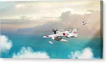 Canvas Print featuring the digital art A6m2-n Sea Plane by John Wills