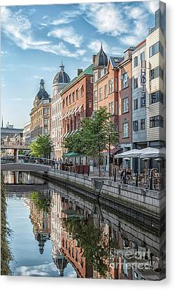 Canvas Print featuring the photograph Aarhus Afternoon Canal Scene by Antony McAulay