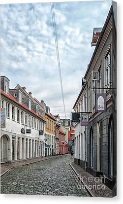 Canvas Print featuring the photograph Aarhus Backstreet Scene by Antony McAulay