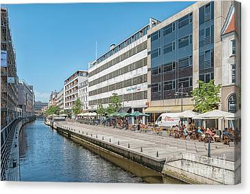 Canvas Print featuring the photograph Aarhus Canal Activity by Antony McAulay