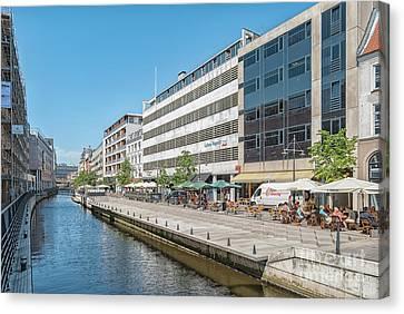 Aarhus Canal Activity Canvas Print by Antony McAulay