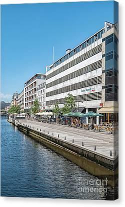 Canvas Print featuring the photograph Aarhus Canal Scene by Antony McAulay