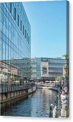Canvas Print featuring the photograph Aarhus Lunchtime Canal Scene by Antony McAulay