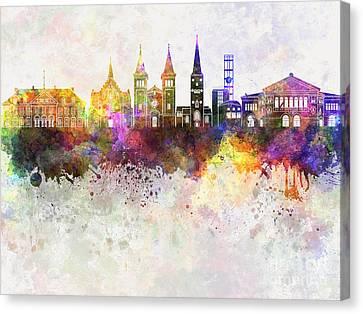 Aarhus Skyline In Watercolor Background Canvas Print by Pablo Romero